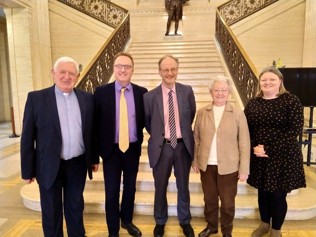 TRC meets with Minister of Education.  Pictured (left to right) are the Revd Dr Fred Munce, Dr Peter Hamill, Mr Peter Weir (Minister of Education), Miss Rosemary Rainey OBE (Chair of TRC), and Ms Karen Jardine.