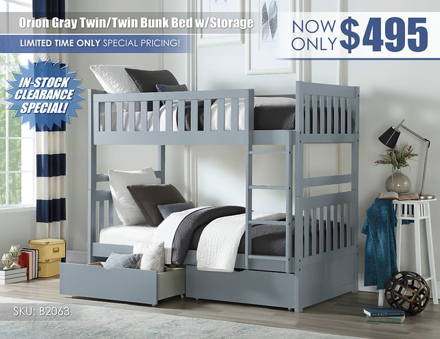 Orion Gray Twin over Twin Bunk Bed Special_B2063