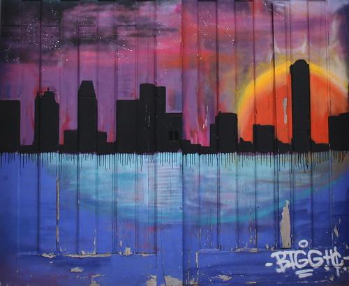 publicart streetart art graffitti buffalo ny buffalony newyork mainstreet universityheights skyline sunset mural orange blue