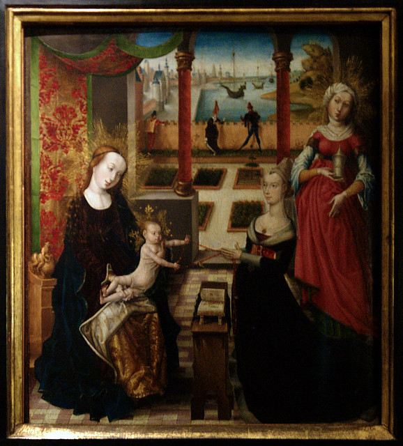 Luik, Wallonie, Curtius museum, madonna with donor & St. Mary Magdalene