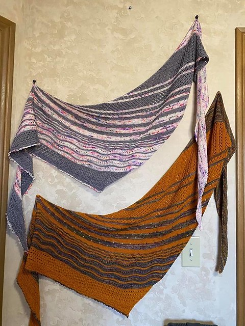 Jean has been busy! Here are two Local Yarn Shawls by Casapinka that she recently finished!