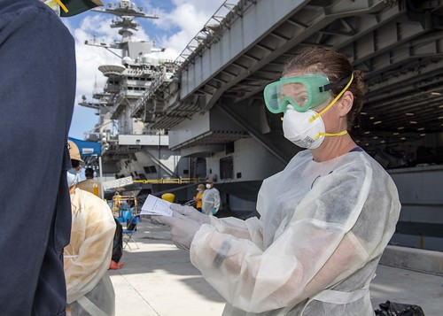 NAVAL BASE GUAM (April 24, 2020) – U.S. Navy Sailors stationed aboard the aircraft carrier USS Theodore Roosevelt (CVN 17) voluntarily participated in a public health outbreak investigation from their various locations on Naval Base Guam from April 20 - 24, 2020.