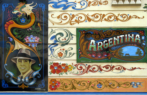 The great tango singer Gardel on this decorative painted tango sign in Buenos Aires, Argentina