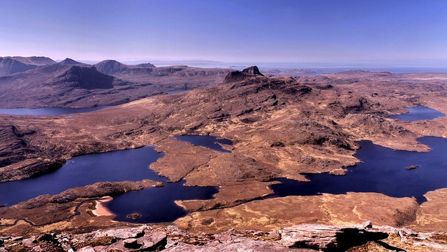view from Cul Mor on Stac Pollaidh, Highland, Scotland, UK