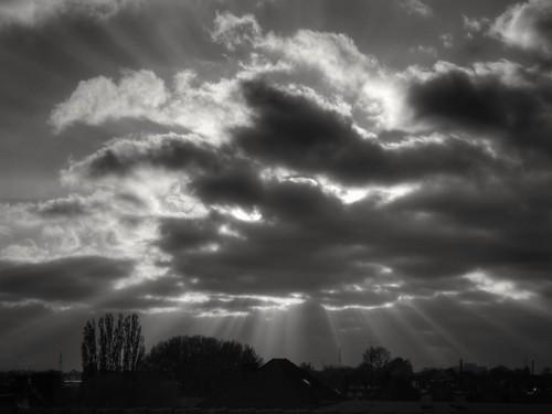 monochrome blackandwhite landscape sky sunset clouds cloudporn sun rays nature