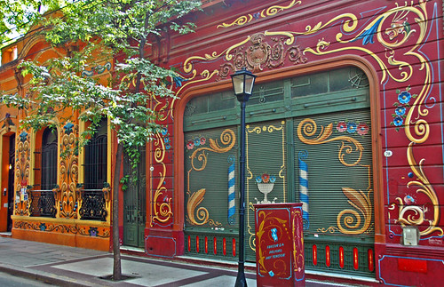 colourful decorative painting on houses on Jean Jaures in Buenos Aires, the same street as the house of Carlos Gardel, the famous tango singer (Argentina)
