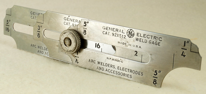 RD19911 Vintage General Electric Weld Gage Cat. 92x512 with Original Leather Case Made in USA DSC02939