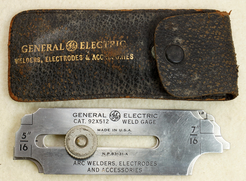 RD19911 Vintage General Electric Weld Gage Cat. 92x512 with Original Leather Case Made in USA DSC02933
