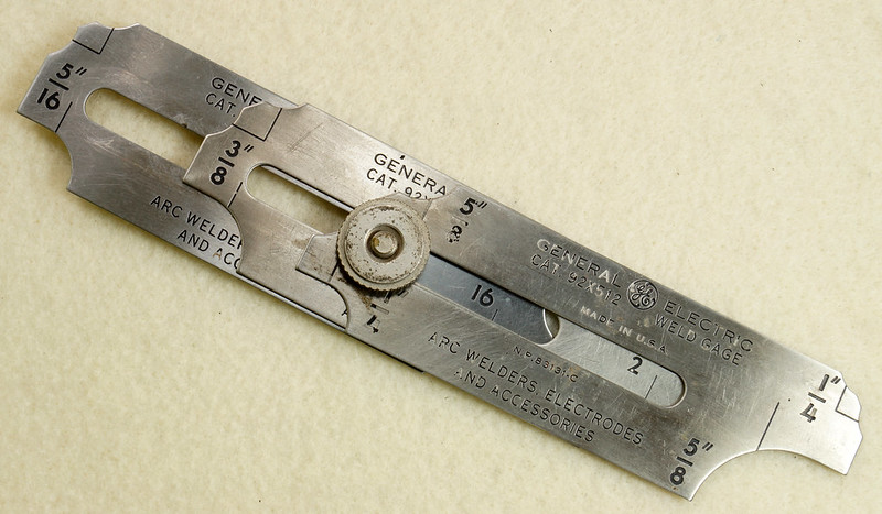 RD19911 Vintage General Electric Weld Gage Cat. 92x512 with Original Leather Case Made in USA DSC02938
