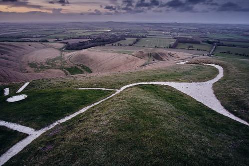 white horse landscape hill sunset chalk grass monument landmark cloud