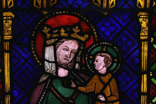 Münster, Westfalen, Landesmuseum, window with madonna & child from Cologne, Dominikanerinnenkirche, detail