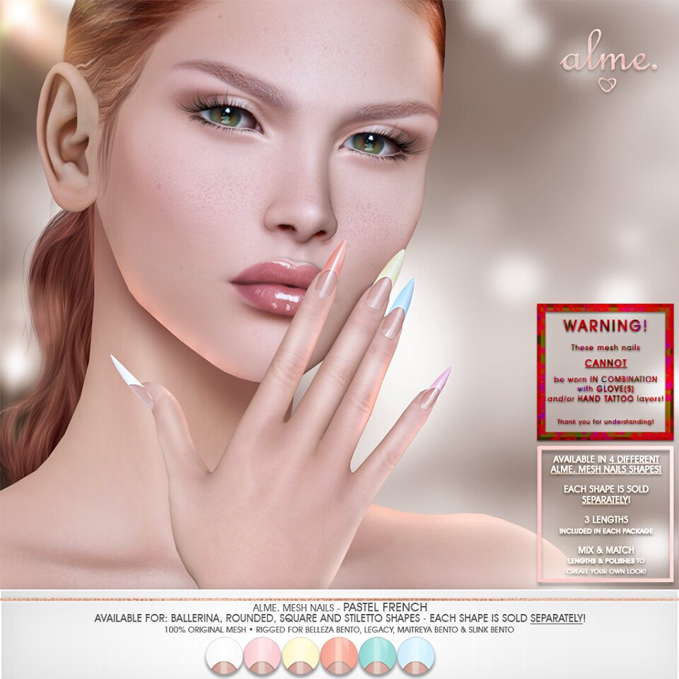 "Alme. for The Saturday Sale – ""Alme Mesh Nails// Pastel French"""