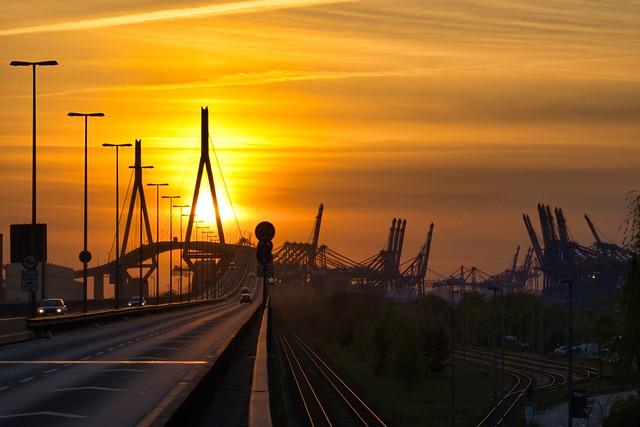 Köhlbrandbrücke in the Sunset
