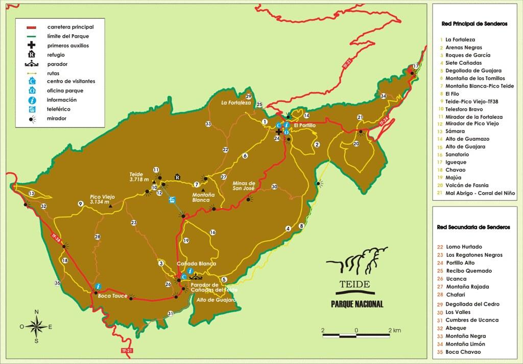 Mapa Parque Nacional de El Teide para visitar El Teide en transporte público