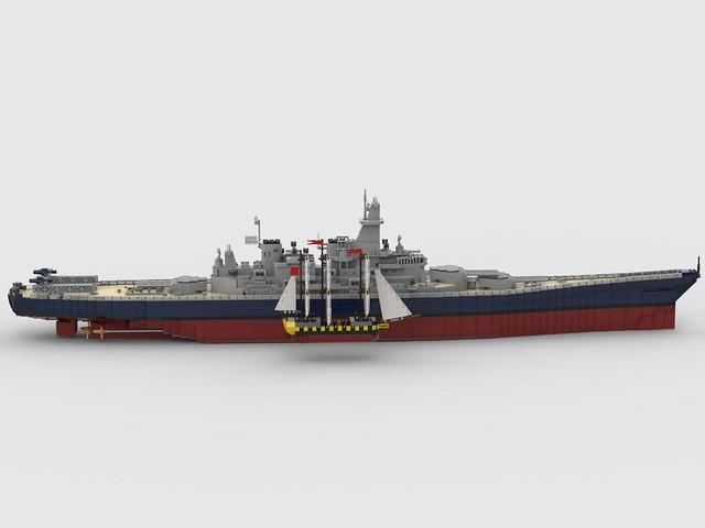USS Iowa (BB-61) and HMS Surprise size comparision