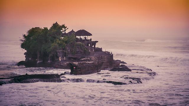 Sunset on Tanah Lot temple, Bali