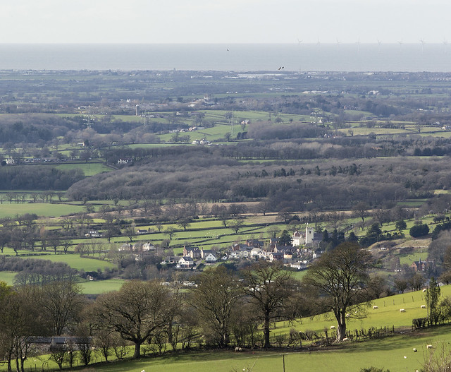 Looking down the Vale of Clwyd from above Llangwyfan, Clwydian Range AONB, Denbighshire, North Wales, UK