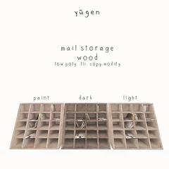 yugen mail storage.// wood