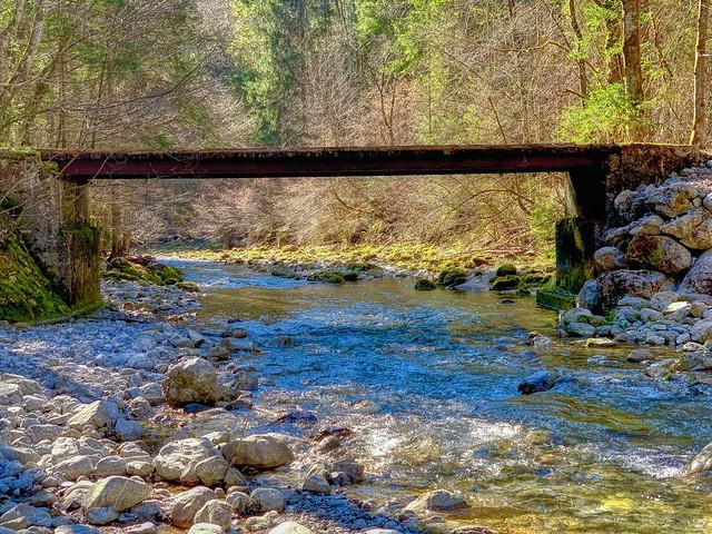 Old bridge across Auerbach creek near Oberaudorf in Bavaria, Germany
