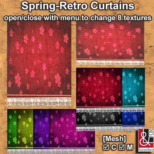 Spring retro Mesh Curtains open-close
