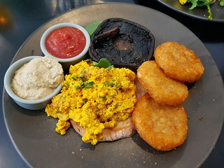 Tofu Scramble with Hashbrowns and Cashew Cream with Dill at Dicki's