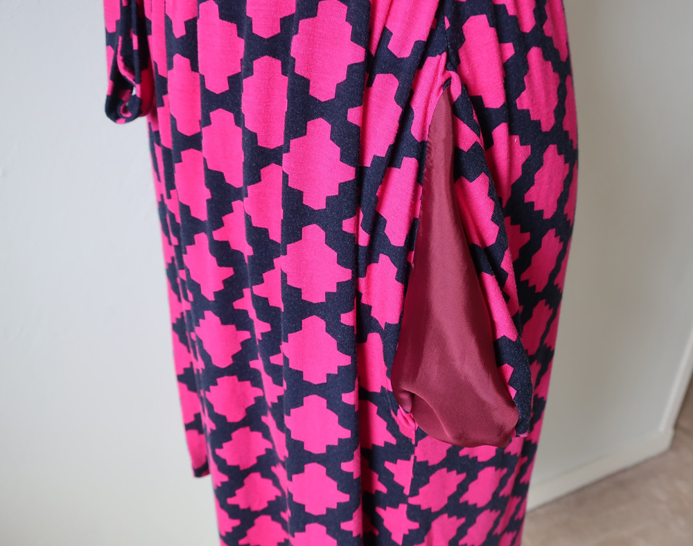 Pink wrap dress pocket