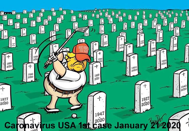 Trump plays golf in a cemetary full of coronavirus victims cartoon