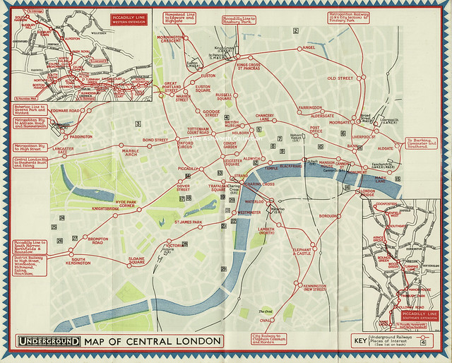 Underground map of Central London showing the Western and Southgate extensions of the Piccadilly line, 1932