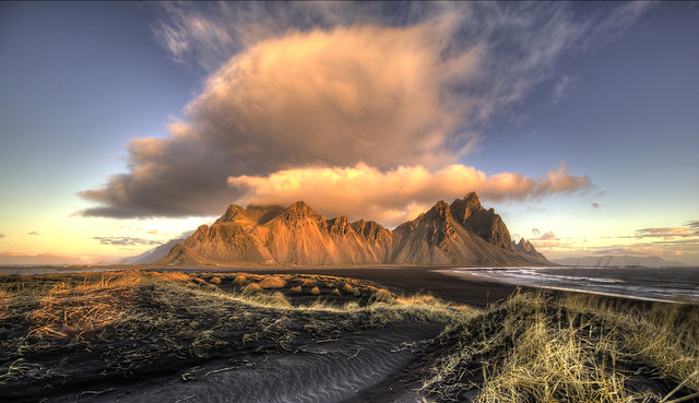 Sun and Clouds at Vestrahorn