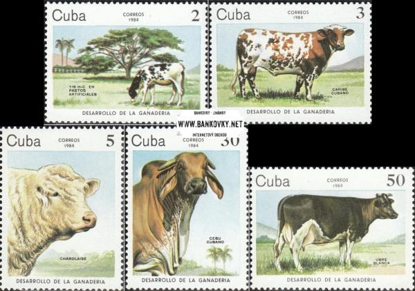 Známky Kuba 1984 Hovädzí dobytok séria MNH