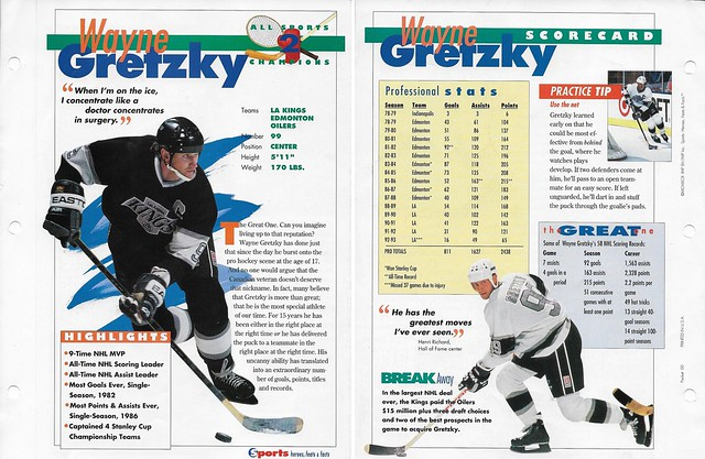1993 Sports Heroes Feats Packet 00 Sample - Gretzky