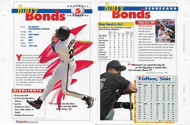 1993 Sports Heroes Feats Packet 00 Sample - Bonds Baseball Champions