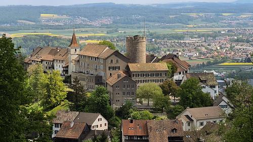 regensberg cantonofzurich switzerland schweiz europe burgturm burg castle april 2020 landscape oldtown village