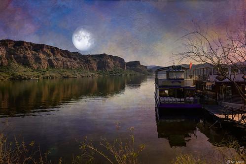 arizona boat fineart kenmickelphotography lake lakes landscape moon outdoors saguarolake texture textured textures waterscape photography water mesa unitedstatesofamerica