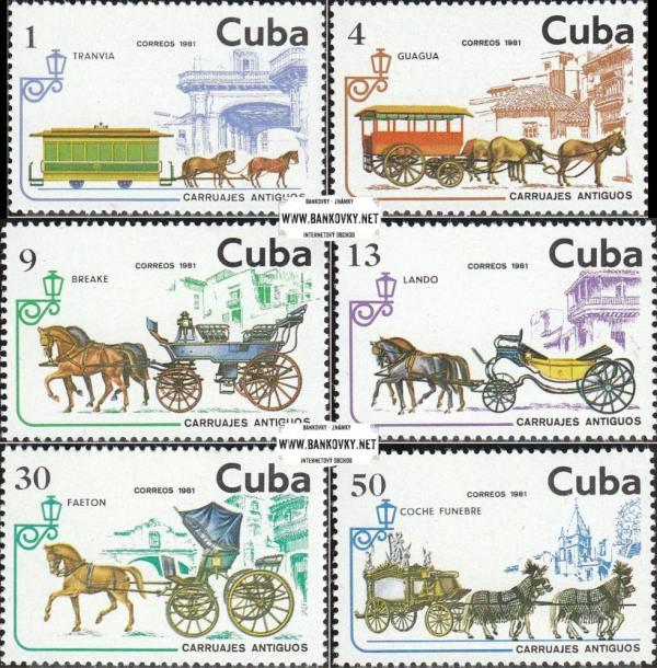 Známky Kuba 1981 Koňská železnica a dostavníky séria MNH