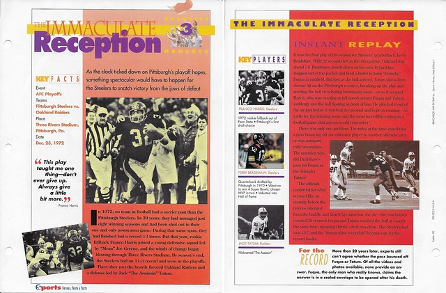 1993 Sports Heroes Feats Packet 00 Sample - Franco Harris-Bradshaw