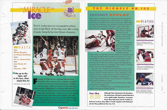 1993 Sports Heroes Feats Packet 00 Sample - Miracle on Ice