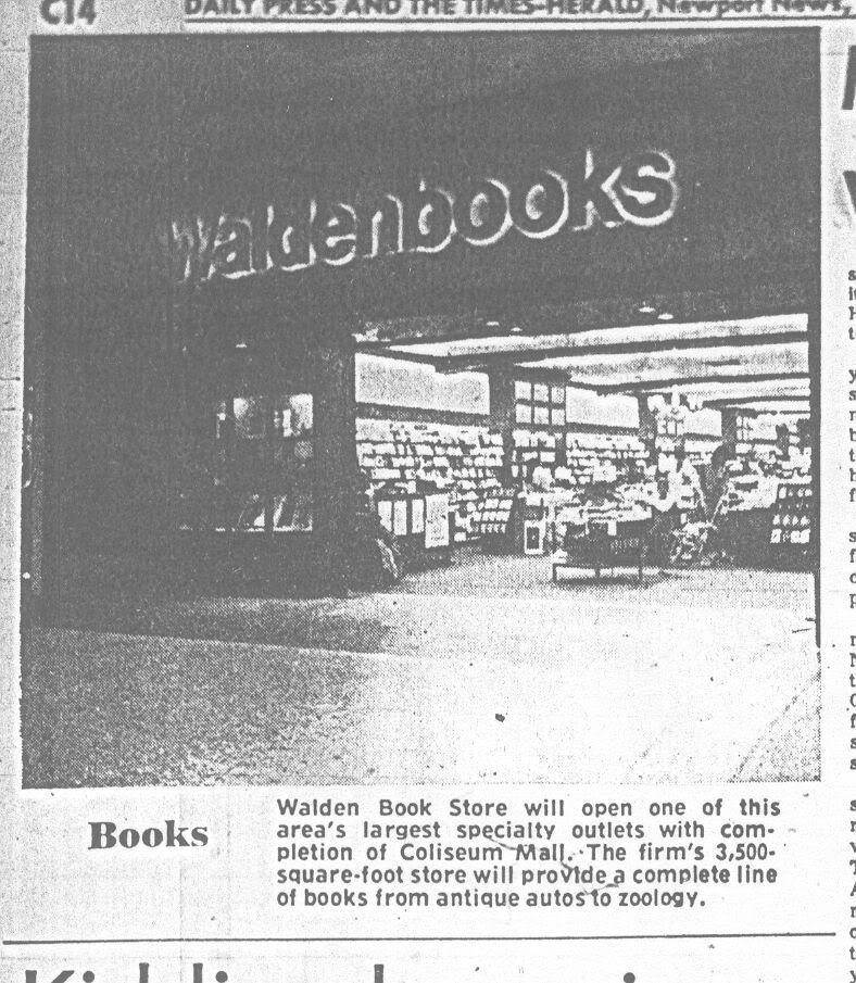 waldenbooks, Coliseum Mall, 1973