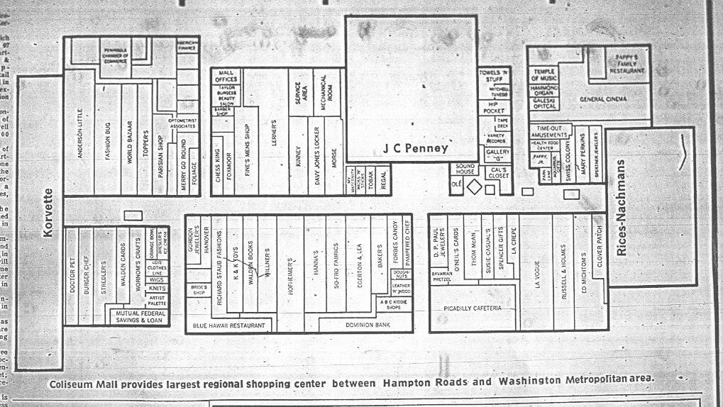 Coliseum Mall Map, opening day, 1973
