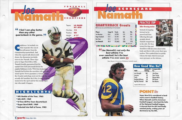 1993 Sports Heroes Feats Packet 00 Sample - Namath