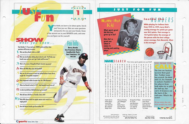 1993 Sports Heroes Feats Packet 00 Sample - Bonds Poster Page