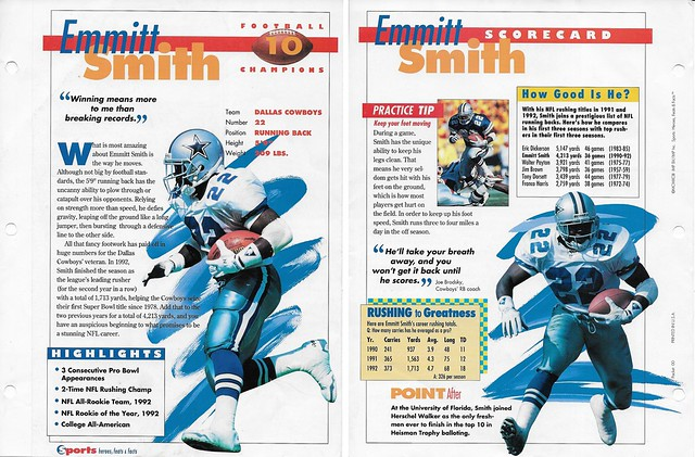 1993 Sports Heroes Feats Packet 00 Sample - Emmitt Smith