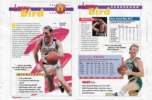 1993 Sports Heroes Feats Packet 00 Sample - Larry Bird
