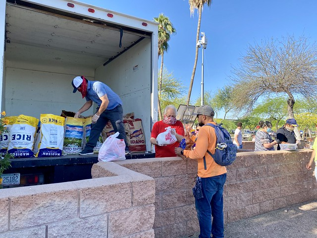 A Group Gets Food Supplies to Phoenix Day Laborers