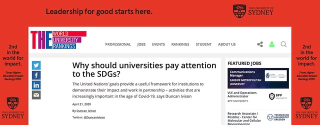 Screenshot of Duncan Ivison's article, which is surrounded by an advert bragging about Sydney University's ranking