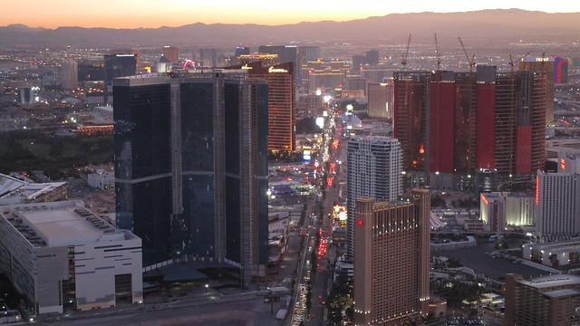 Nevada - Las Vegas:  Dusk over the Strip- seen from Stratosphere Tower