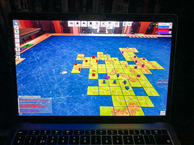 laptop carcassonne board game lautapeli tietokoneella
