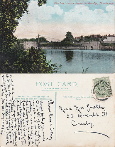 Leamington Spa Suspension Bridge and Weir, Vintage Postcard
