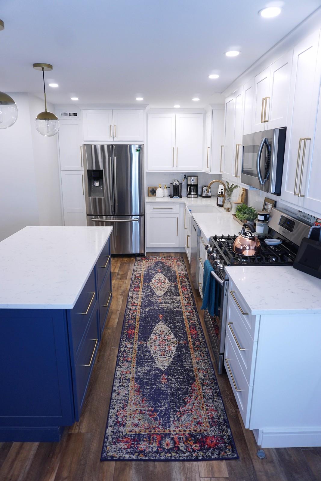 SHOP All of the Rugs I Have in my House | Kitchen Remodel | Kitchen Ideas | Kitchen Design | White Kitchen Cabinets | Blue Kitchen Island | Gold Hardware | Blue Kitchen Runner | Modern Kitchen