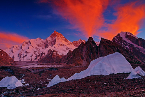 Masherbrum: Clouds on fire